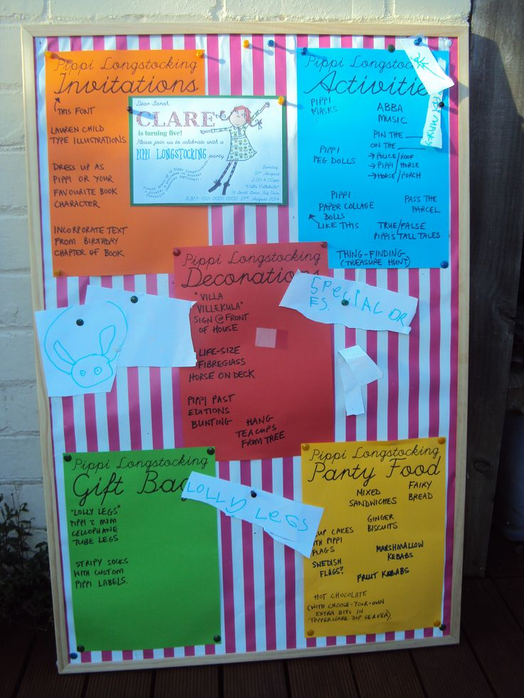 Pippi Party Pinboard, To Keep Track Of Our Ideas, To Dos Etc.