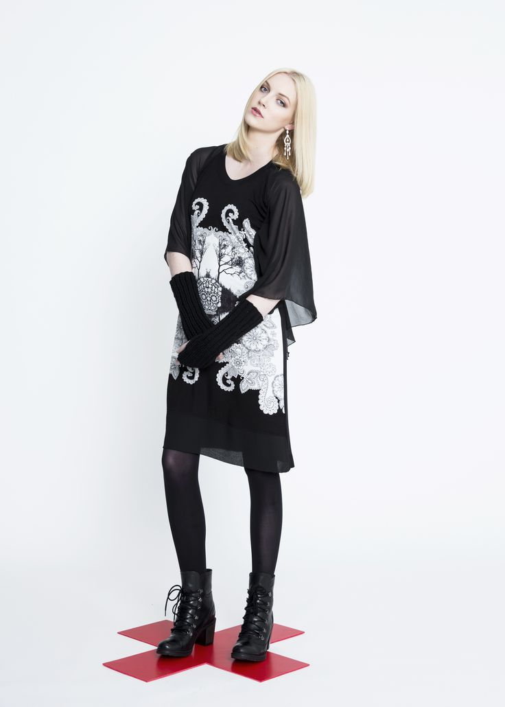 Skull Knit Cape Dress, Hand Knitted Wool Gloves