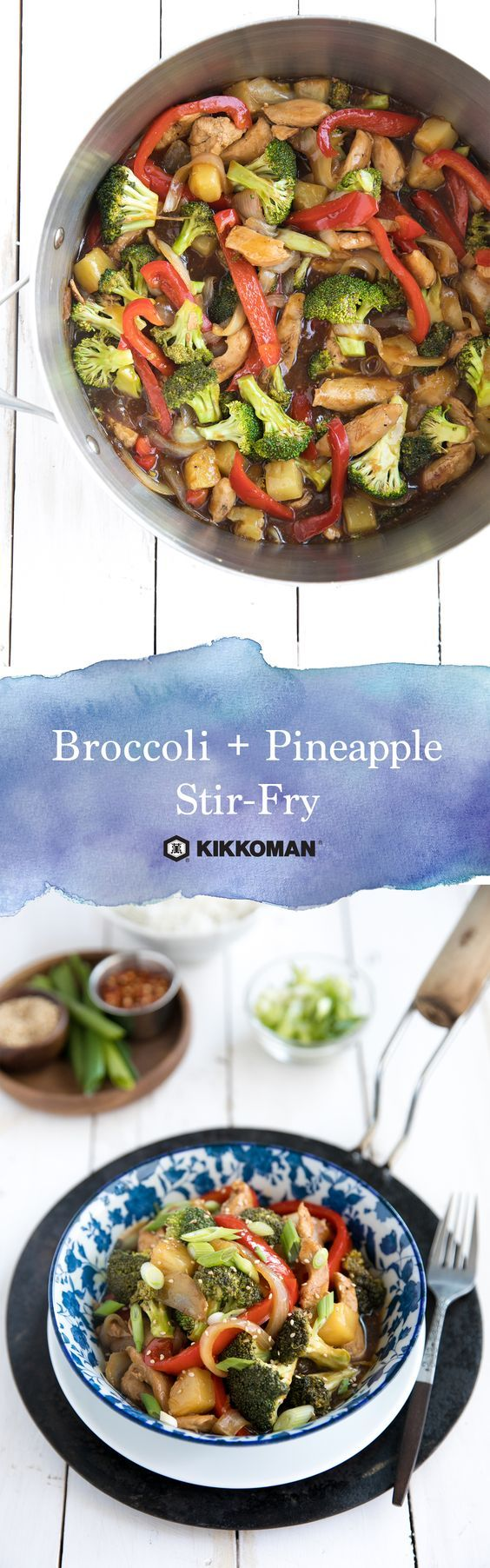 Stir-fry recipes make life easy and scrumptious! This one pan meal combines broccoli, bell peppers, pineapple, onion, and chicken, then smothers them in a tasty homemade sweet and savory sauce with Kikkoman®️ Less Sodium Soy Sauce and Kikkoman®️ Stir-Fry Sauce. Just 11 simple ingredients! | Take a look around on the Kikkoman USA website and find more amazing new recipe ideas.