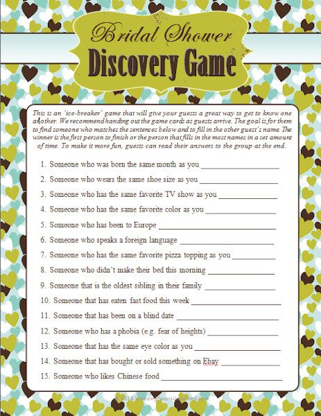Wedding Shower Guest Discovery Game (Discovery) | Buy at Wedding Favors Unlimited (https://www.weddingfavorsunlimited.com/wedding_shower_guest_discovery_game.html).