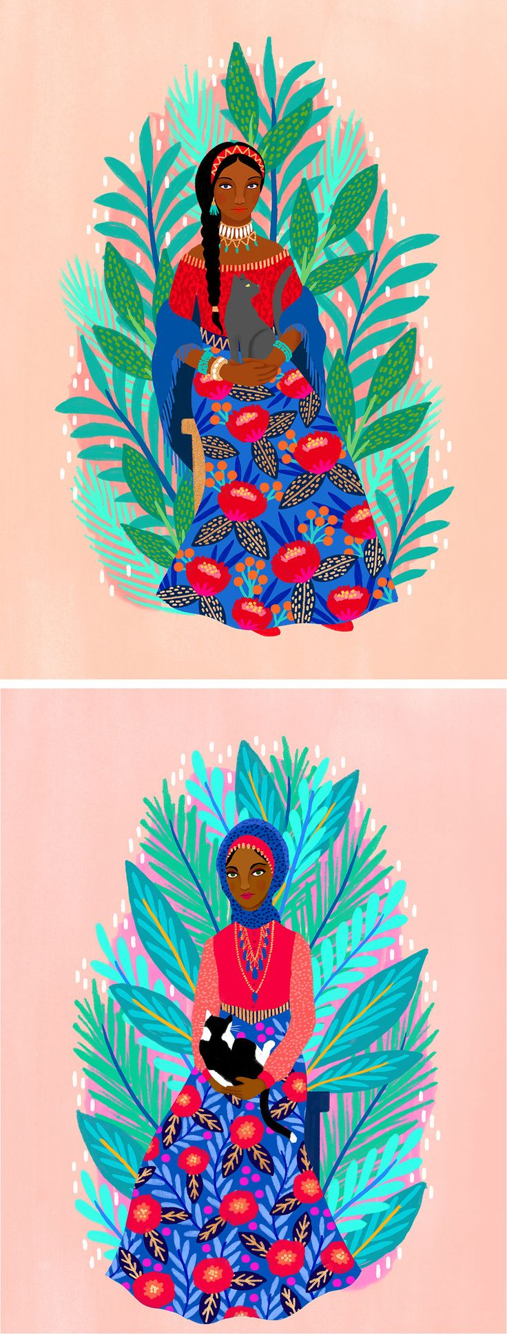 Illustrated women and cats by Jess Phoenix // floral illustration // contemporary portraits of women