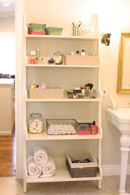 simply organized: organized bathroom shelving