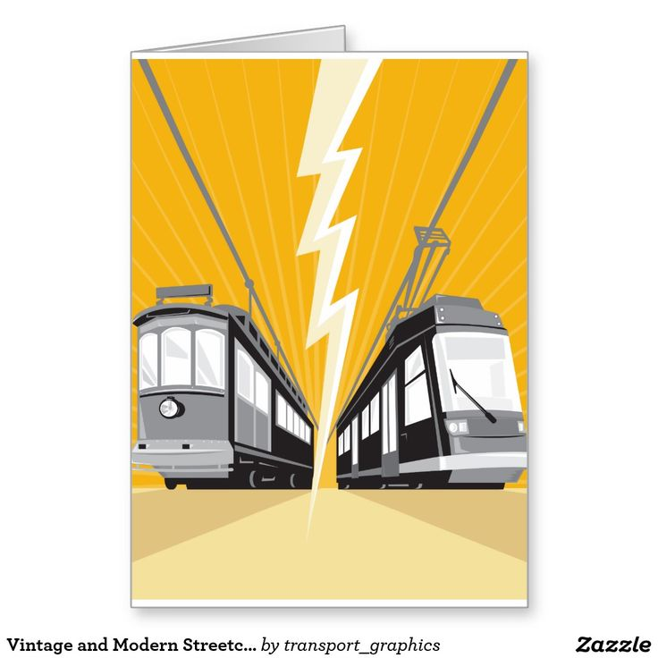 Vintage and Modern Streetcar Tram Train Greeting Card