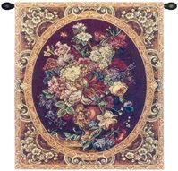 Floral Composition in Vase Burgundy Italian Wall Tapestry Hanging, Tapestries, Woven, tapestries, tapestrys, hangings, and, the