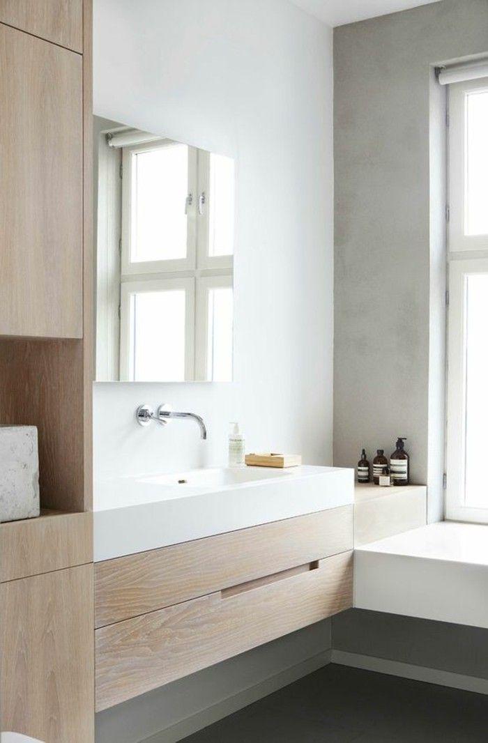 armoire de toilette ikea en bois clair, salle de bain avec meubles pas cher