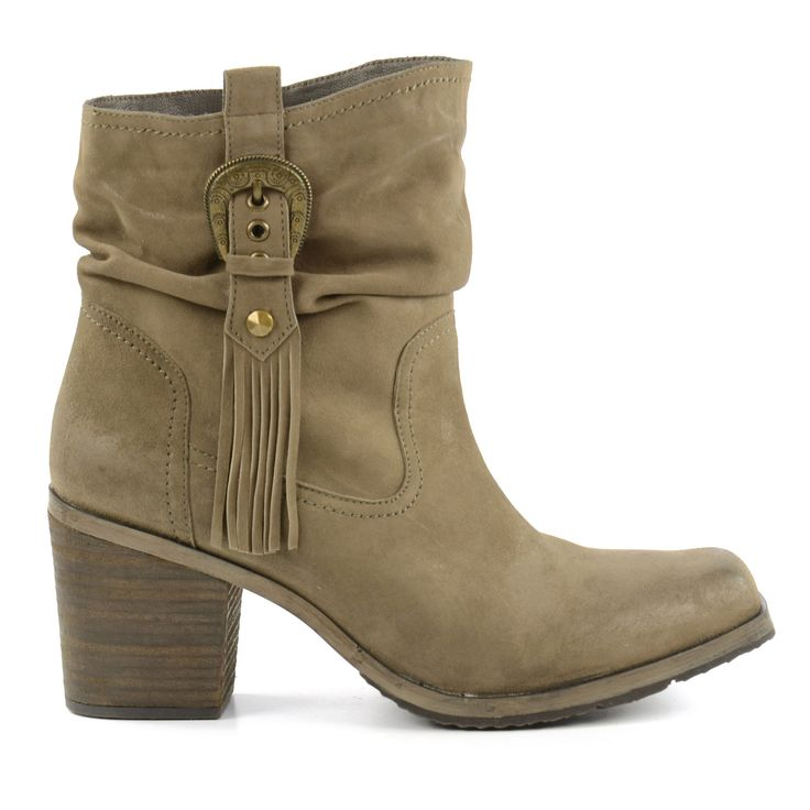 Taupe fringe ankle boots with heels - Beige franje enkellaarsjes met hak
