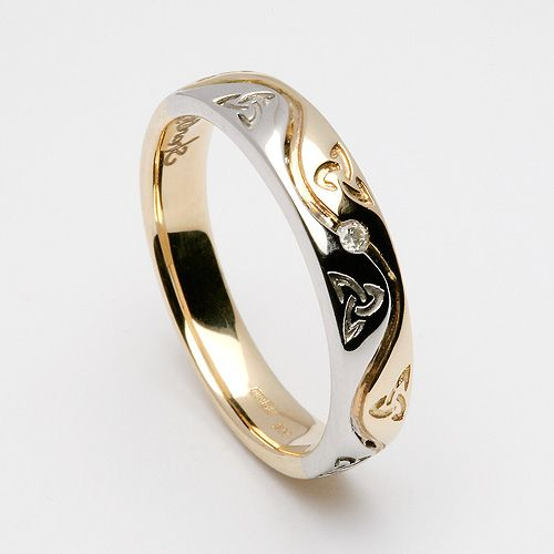 Etain Trinity Spiral Inset Ring (C-845) - Celtic Wedding Rings white and yellow gold
