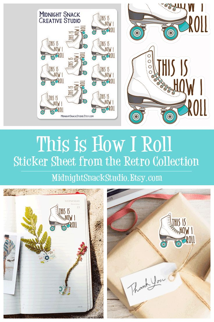 This retro roller blade sticker sheet will let people know that This is How I Roll. It features a custom illustated roller skate and would look great in your journal or planner. This cute retro sticker page is the perfect gift for anyone who loves to stake, whether you gift the whole sheet of stickers or use a single sticker on an envelope or card.