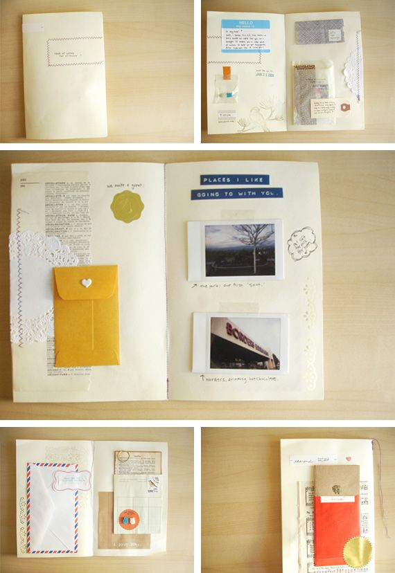 Little memory book scrapbook! Neat idea to put all those movie stubs and random papers that mean too much to toss!