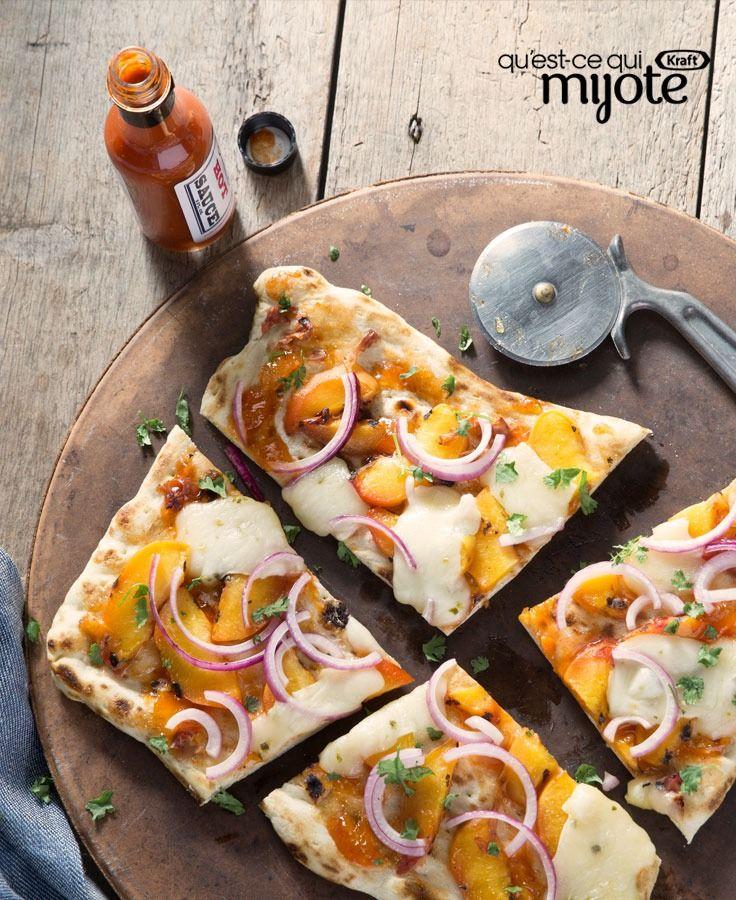 Pain plat grillé aux pêches et au fromage jalapeno #recette