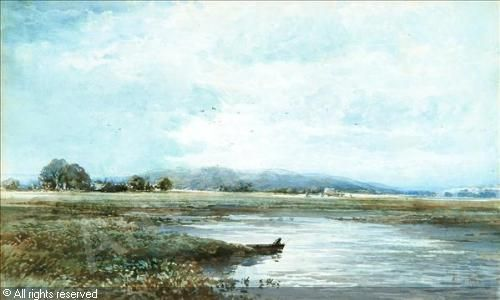 Albert Pollitt - River landscape with figure in boat 1885