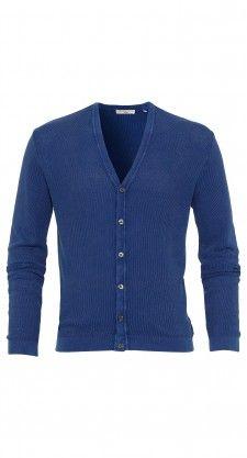 De blauwe Stearer vest heeft een knoopsluiting, ribbed trims en is gemaakt van 100% katoen.