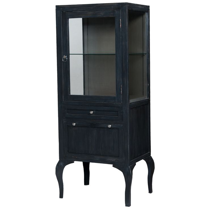 small black french country display cabinet vintage