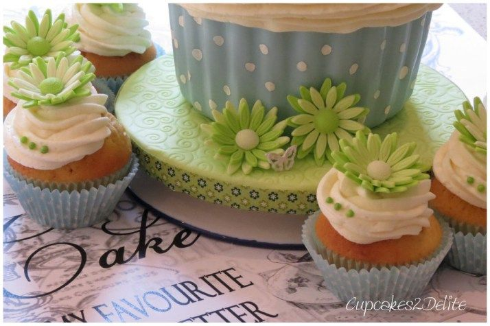 Giant Cupcake Cake in Blue and Lime