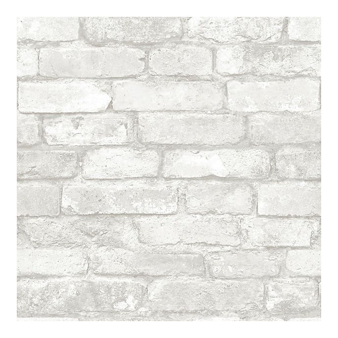 Nuwallpaper Brick Peel And Stick Wallpaper In Grey Bed Bath And Beyond Canada White Brick Wallpaper White Brick Faux Brick