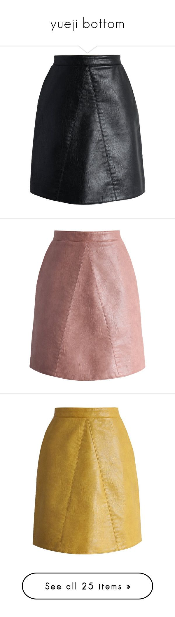 """""""yueji bottom"""" by yueji ❤ liked on Polyvore featuring skirts, black, leather look skirt, vegan leather skirt, faux leather skirts, fake leather skirt, chicwish skirt, chicwish, pink and imitation leather skirt"""