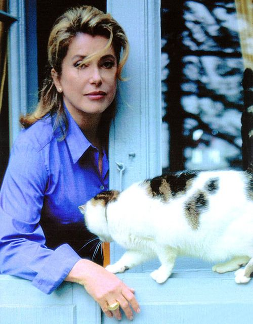 Catherine Deneuve and her cat