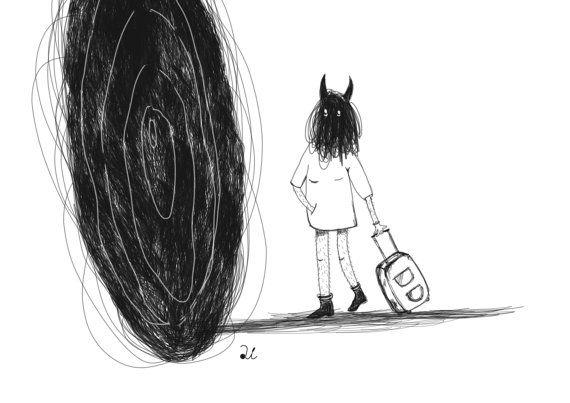 Dark art Print, black hole, Anxiety art, Contemporary art, black and white illustration, depression, survivor print, horror prints, demon