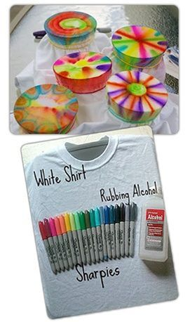Sharpie dyeing - visit Goodwill for your white clothing supplies! Fun activity for the summer that is cheap, easy, fun and time consuming for the kids!