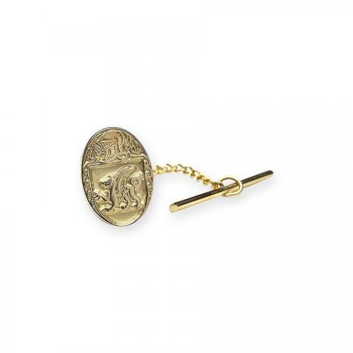 Stone Throwers Med Oval Tie Tac-10K Gold
