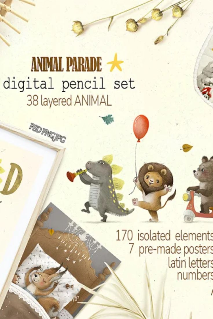 digital pencil  Cute animal parade