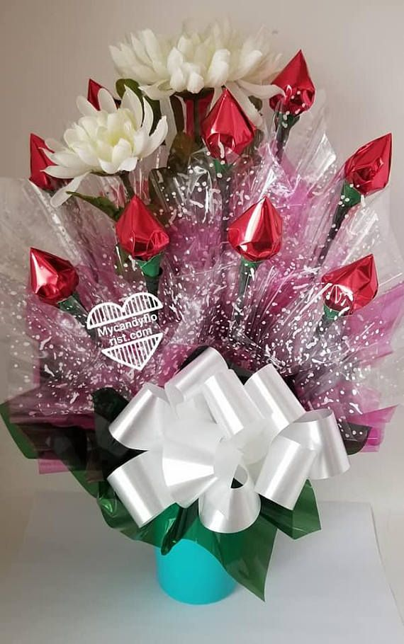 Valentine S Day Candy Bouquet Cup Chocolate Rose Buds Flowers