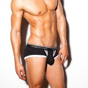 Stylové černé boxerky Signature s bílým lemováním od losangelského výrobce N2N Bodywear