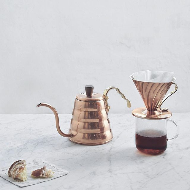 Hario brass pour-over kettle and dripper.