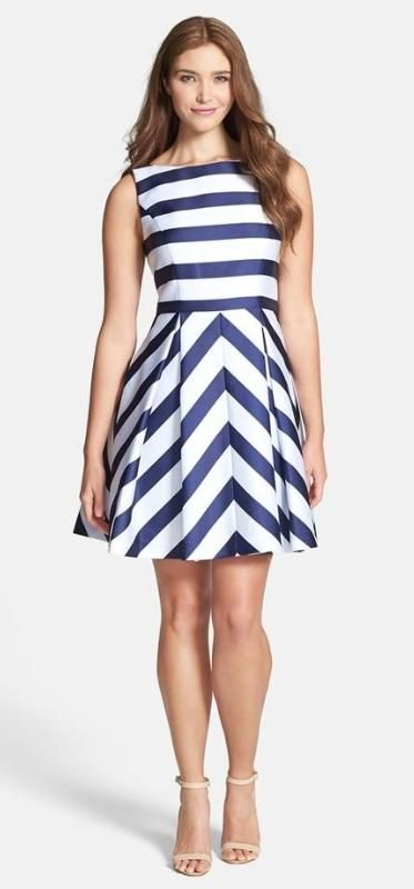 Bold navy and white stripes, cute for bridesmaids!
