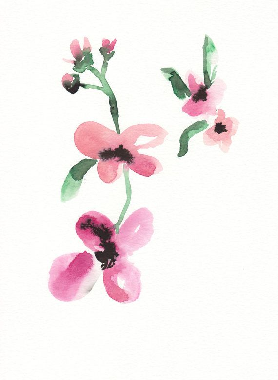 Japanese Flowers by Susanne Riber. This print is made from original watercolor painting and suits both home decor and professional rooms. Available in my Etsy shop.