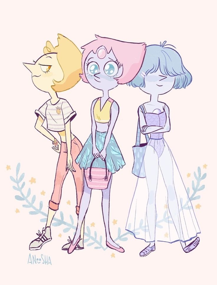 SU art, Steven universe, fandom, SU Celebrities, Pearl (SU), Blue Pearl, Yellow Pearl