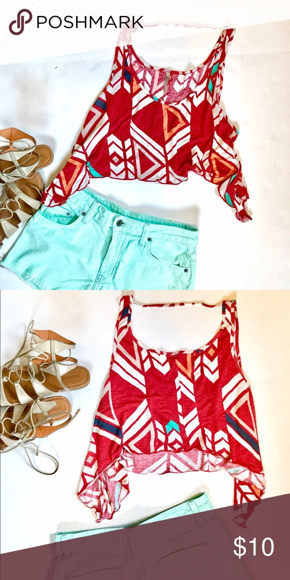 Aztec flowy crop! Flowy, chic Aztec patterned crop top. Red, white, melon, aqua. EUC! Relaxed fit, longer on the sides. Super cute for festivals /over swim suits/ with high waisted bottoms or skirts .  Rayon. Offers welcome! sweet claire Tops Crop Tops