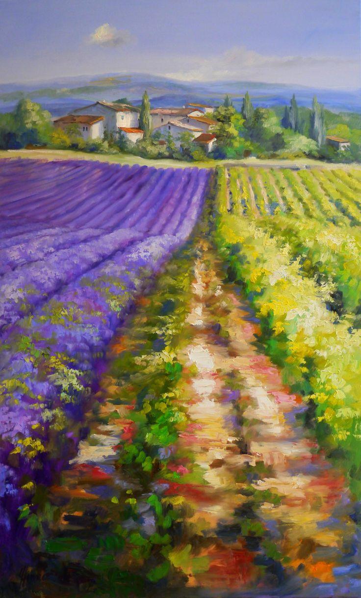 """Gerade habe ich ein neues Gemälde in Öl auf Leinwand von der Künstlerin Ute Herrmann aus Much im Bergischen Land bei Köln entdeckt. """"Reihen von Lavendel und Wein"""". Es ist 130 x 80 cm groß. Violette Blüten in der Landschaft der Provence - ein Traum!"""