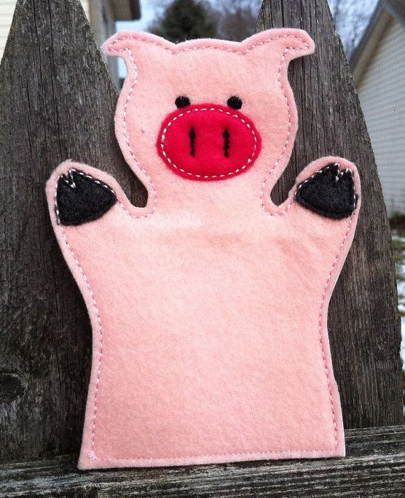 Pig  Farm Animal Felt Hand Puppet  KiD SiZe by ThatsSewPersonal, $7.50