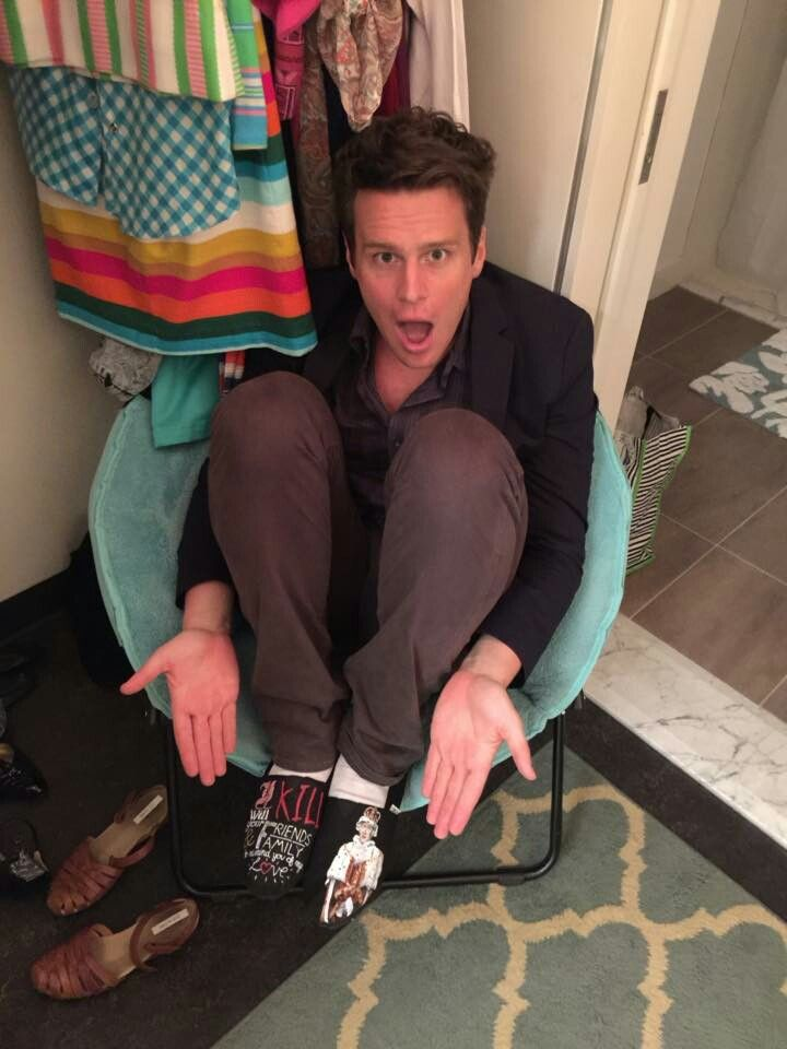 Jonathan Groff, showing off those fan-made, hand painted King George III shoes.