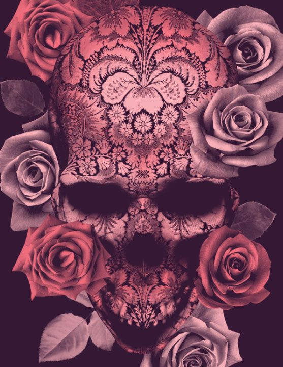 Floral Skull by: BioWorkZ. This would make one gorgeous tattoo!!!