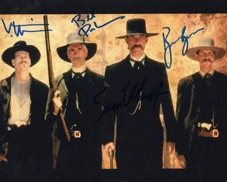 nice TOMBSTONE (Kurt Russell, Bill Paxton, Sam Elliott, Val Kilmer!) 8x10 Cast Photo Signed In-Person