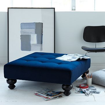Essex Upholstered Ottoman #WestElm  If I cover the table top and cut off the legs a bit,  I'll have this.