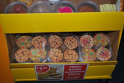 put pics of cookies in old cookie/muffin containers