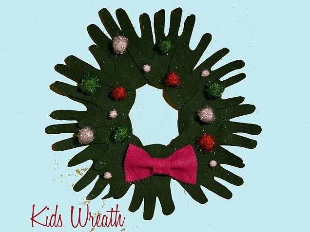 Christmas wreath made out of handprints