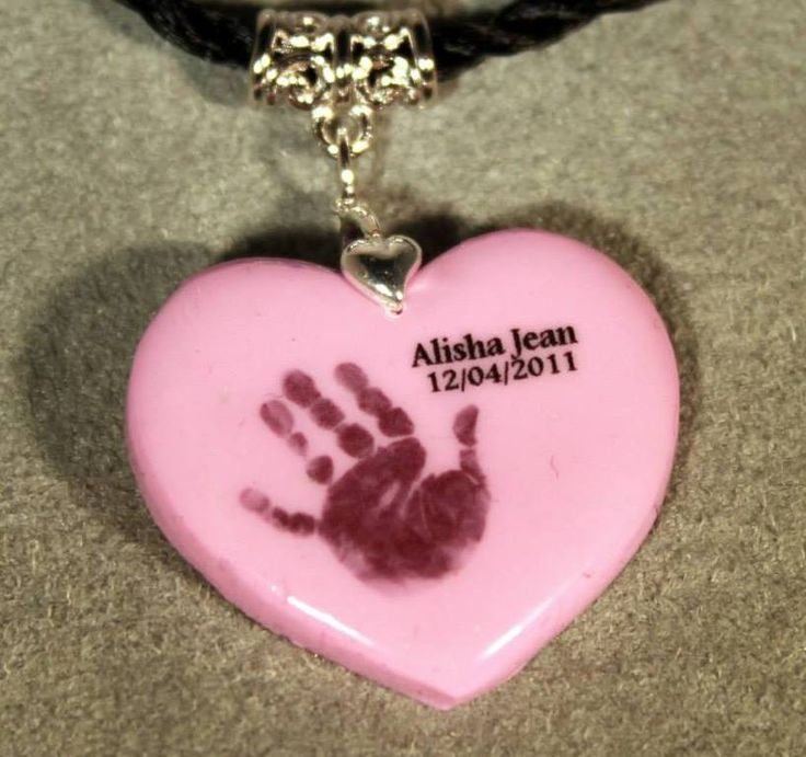 Handprint picture bonded onto a clay pendant