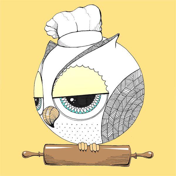 Chefulka. Cooking owl :) #cooking #sowulka #dolce #gufo #illustration #ilustracja #drawing