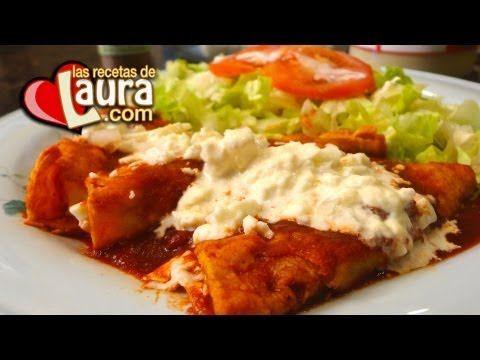 Enchiladas Rojas con Queso Fresco Recetas Light Las Recetas de Laura - YouTube