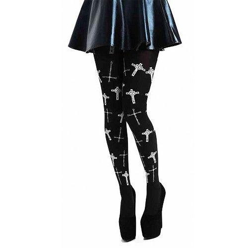 Gothische kruizen panty zwart