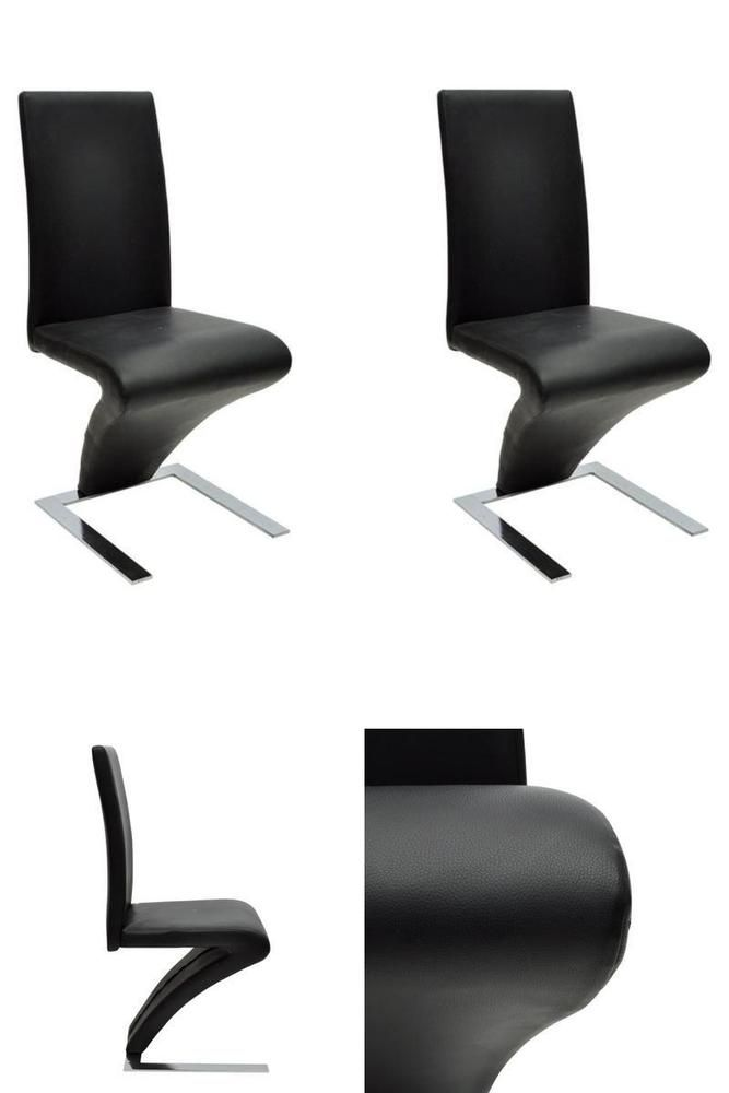 Black Dining Room Chairs Modern Z Shapped Set of 2 Seats Kitchen Home Furniture