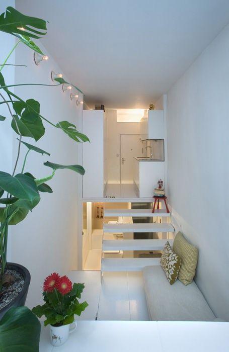 Il piccolo appartamento, sfruttando laltezza, inizia dalla cucina che [R
