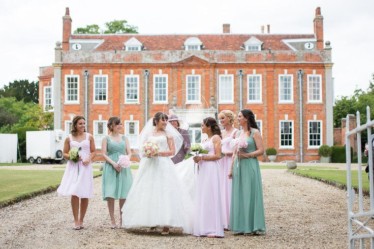 Capture ever-lasting memories at this #quintessential #country #hall house in rural #Suffolk - here the bride and her #bridesmaids are strolling across to the adjacent #Church of St Mary