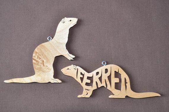 Ferret Ornaments Wood Hand Cut Pair Christmas