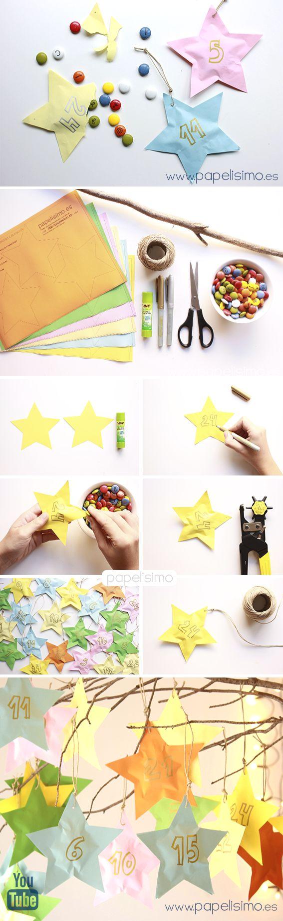 como hacer calendario de adviento niños en papel para Navidad, PASO A PASO: CÓMO HACERUN CALENDARIO DE ADVIENTO DE PAPEL PARA NIÑOS  Descarga laplantilla de las estrellas, está lista para recortar. Si no tienes impresora también puedes dibujarlas a mano. Necesitaremos 48 estrellas de papel (dos para cada día), en total debes imprimir 16 veces el pdf con el patrón de estrella.  Recorta las estrellas de papel y pega las dos a dos dejando una esquina sin pegar para introducir los Lacasitos u…