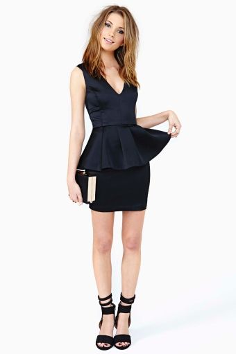 Bardot Peplum Dress - Black in Lookbooks Anti-Prom at Nasty Gal